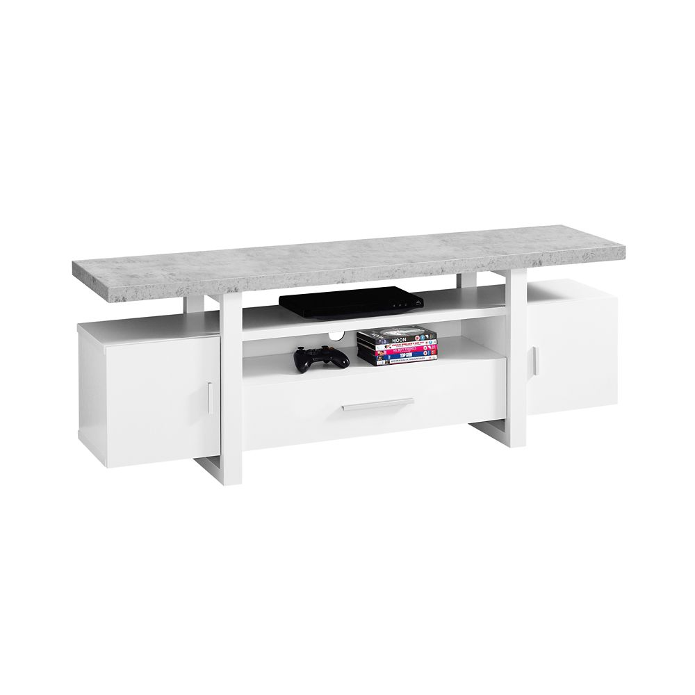 Monarch Specialties Tv Stand - 60-inch L White Cement-Look Top