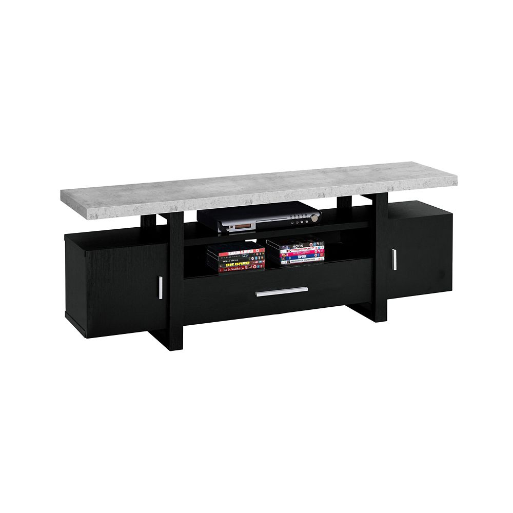 Monarch Specialties Tv Stand - 60-inch L Black Cement-Look Top
