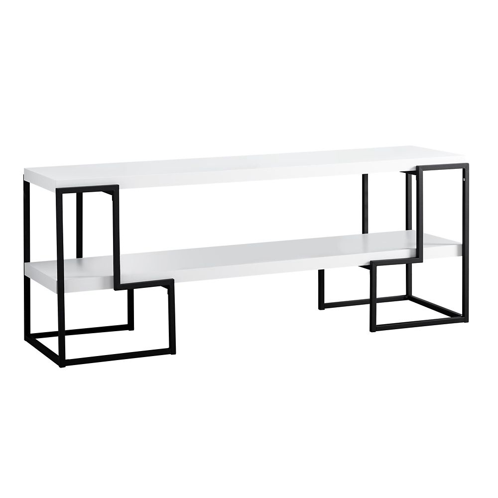 Monarch Specialties Tv Stand - 60-inch L White Black Metal