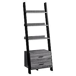 Monarch Specialties Bookcase - 69-inch H Grey-Black Ladder With 2 Storage Drawer
