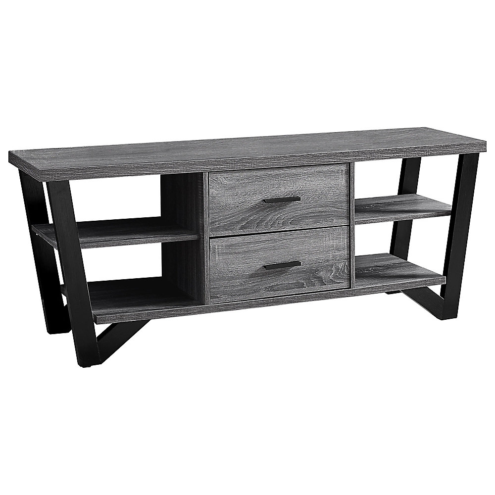 Tv Stand - 60-inch L Grey-Black With 2 Storage Drawers