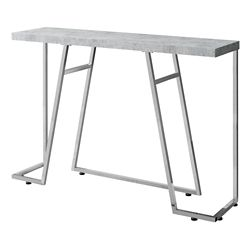 Monarch Specialties Accent Table - 48-inch L Grey Cement Chrome