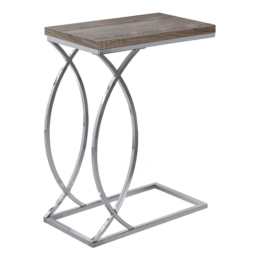 Monarch Specialties Accent Table - Dark Taupe With Chrome Metal