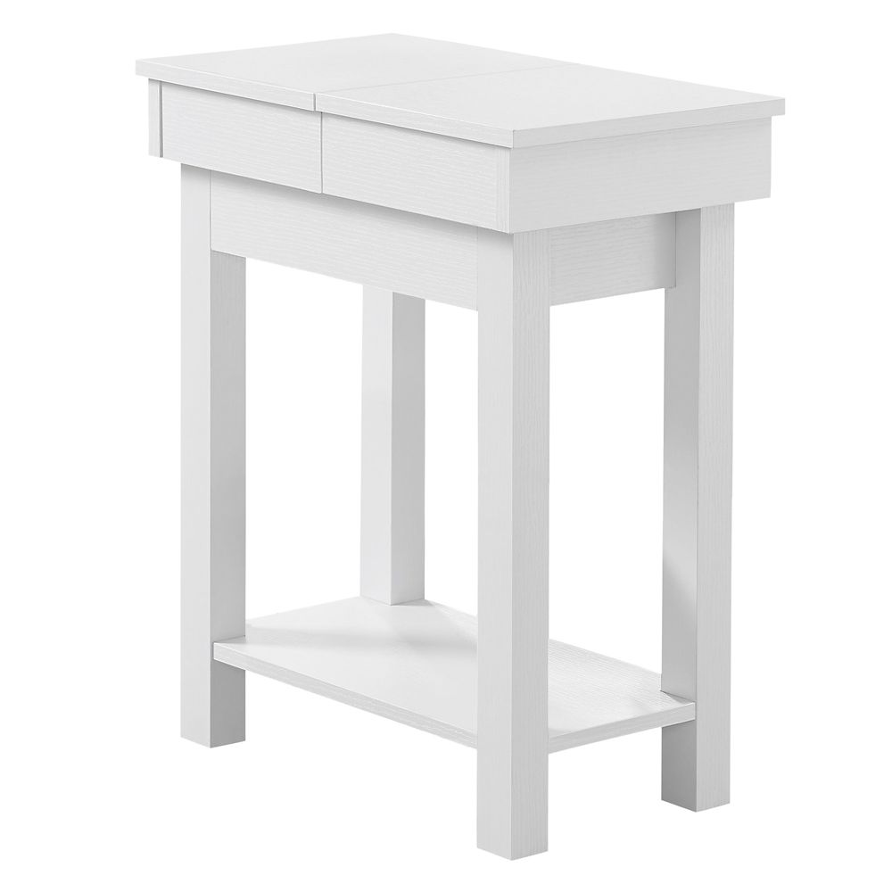 Monarch Specialties Accent Table - 24-inch H White With Storage