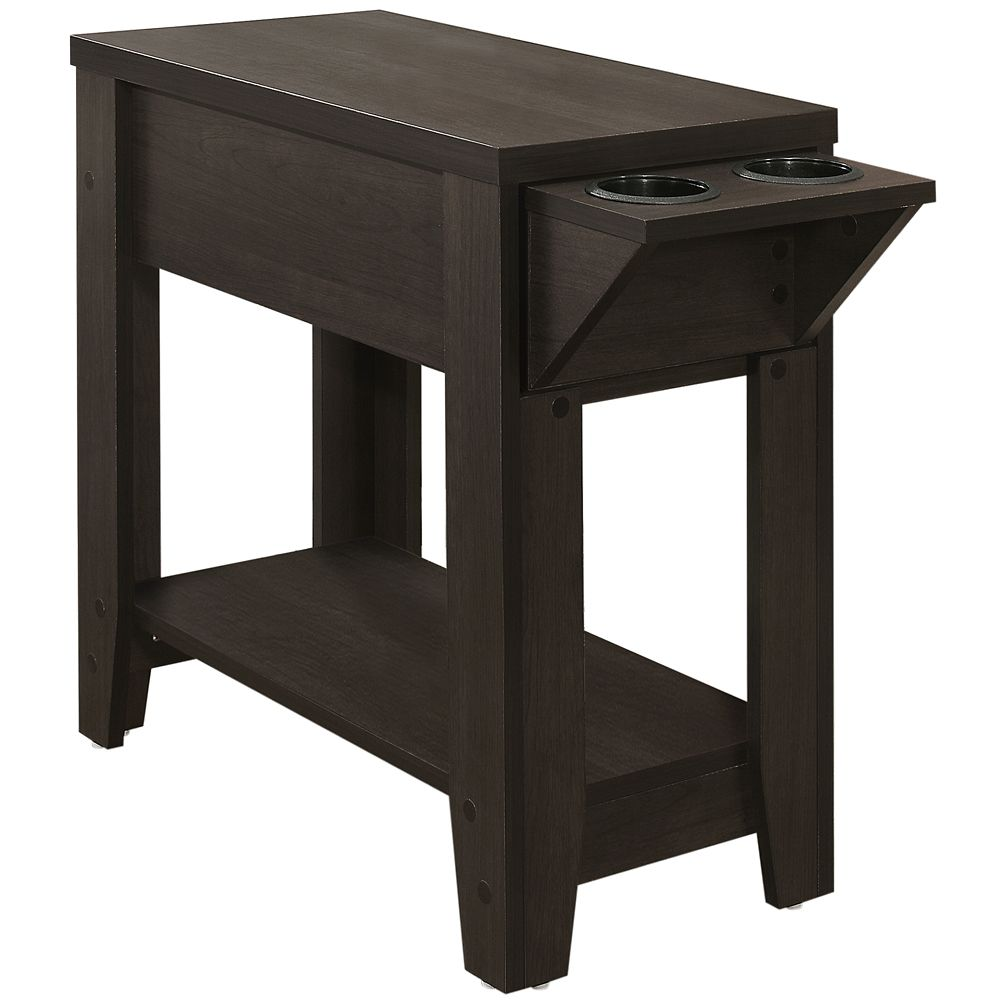 Monarch Specialties Accent Table - 24-inch H Cappuccino With A Glass Holder
