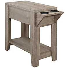 Accent Table - 24-inch H Dark Taupe With A Glass Holder