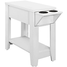 Accent Table - 24-inch H White With A Glass Holder