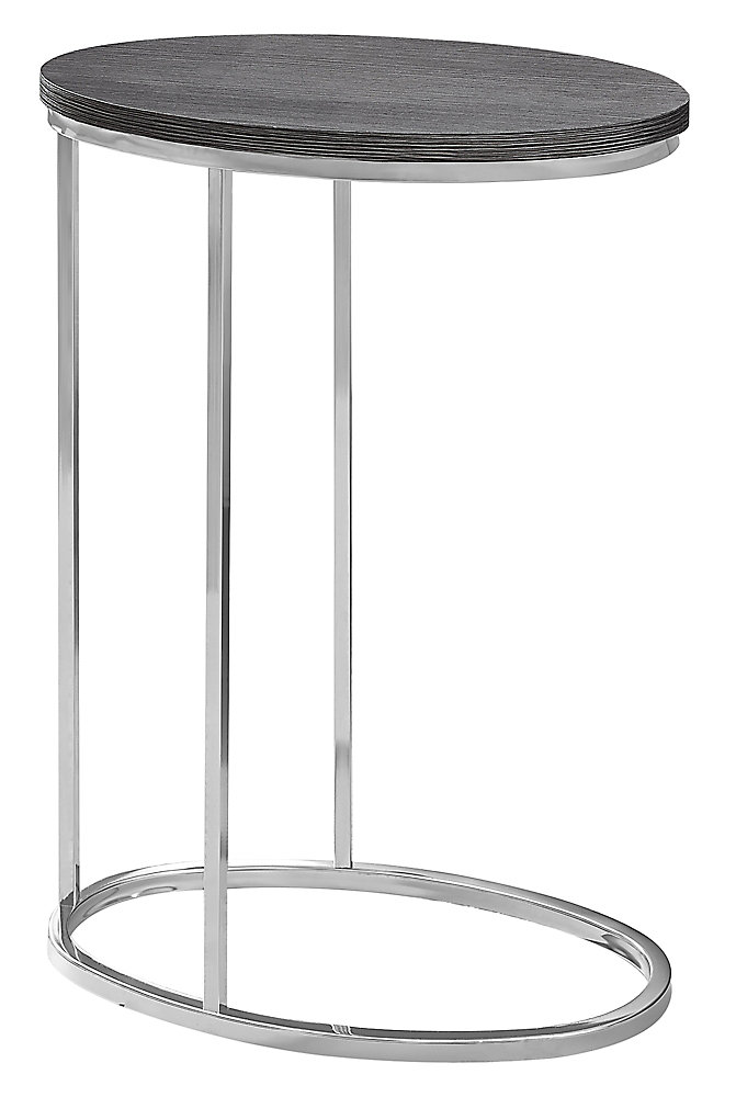 Accent Table - Oval Grey With Chrome Metal