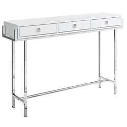 Monarch Specialties Table D'Appoint - 48 po L Blanc Lustre Metal Chrome