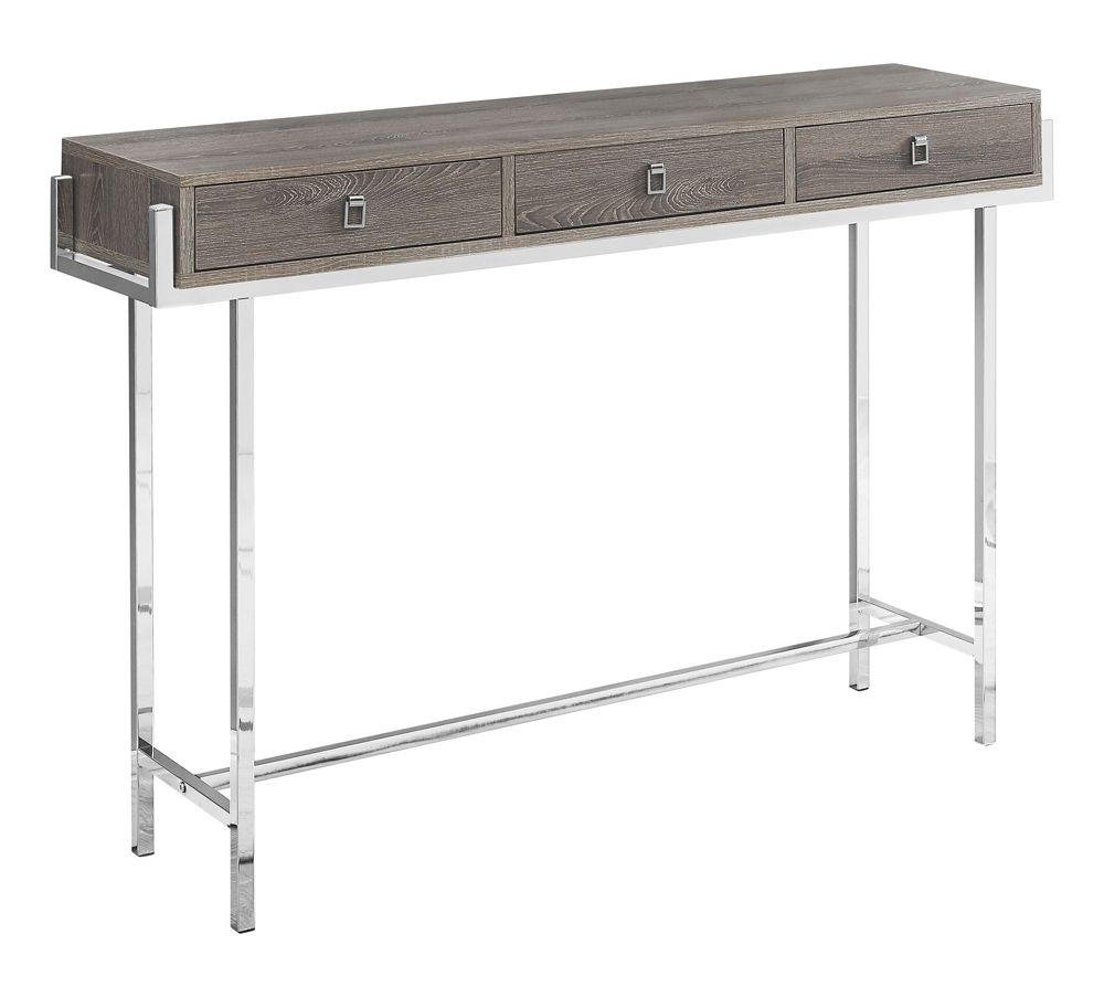 Monarch Specialties Accent Table - 48-inch L Dark Taupe Chrome Metal