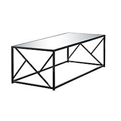 Monarch Specialties Coffee Table - Black Nickel Metal Mirror Top