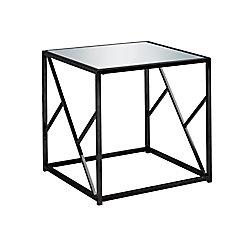 Monarch Specialties End Table - Black Nickel Metal Mirror Top
