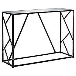 Monarch Specialties Accent Table - 42-inch L Black Nickel Metal Mirror Top