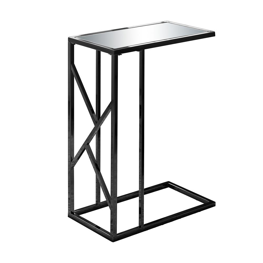 Monarch Specialties Accent Table - Black Nickel Metal Mirror Top
