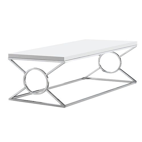 Monarch Specialties Coffee Table - Glossy White With Chrome Metal