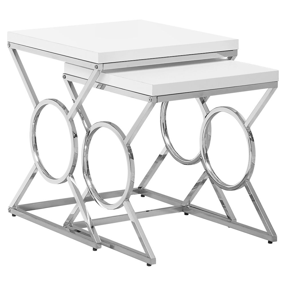Monarch Specialties Nesting Table - 2Pcs Set Glossy White Chrome Metal
