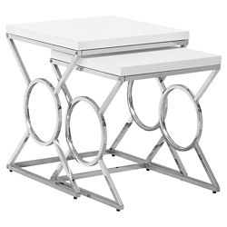 Monarch Specialties Nesting Table - 2-Piece Set Glossy White Chrome Metal