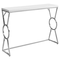 Monarch Specialties Accent Table - 42-inch L Glossy White Chrome Metal