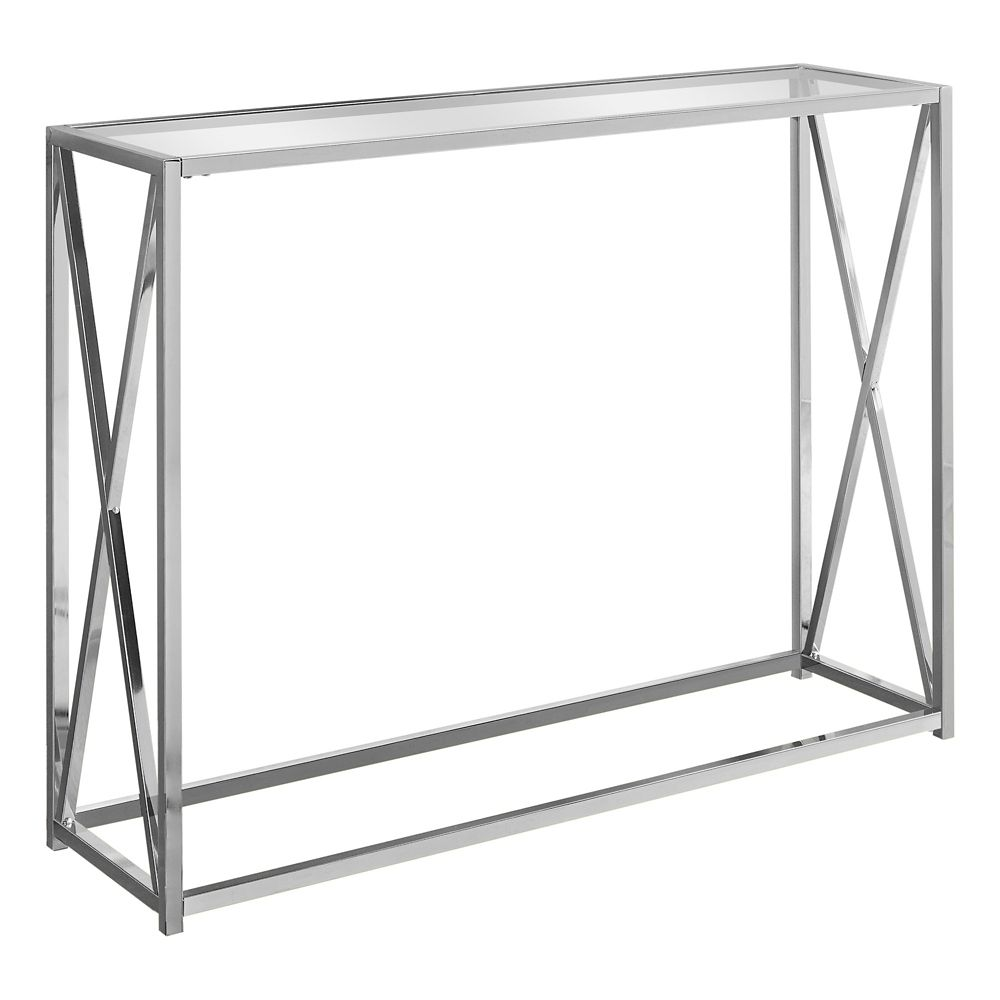 Monarch Specialties Accent Table - 42-inch L Chrome Metal With Tempered Glass