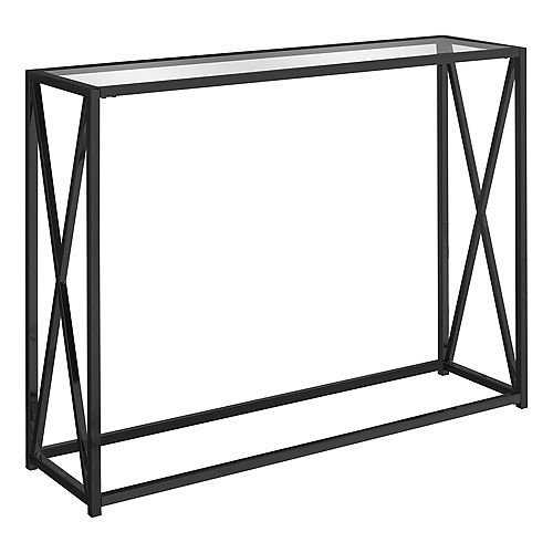 Monarch Specialties Accent Table - 42-inch L Black Nickel Metal Tempered Glass