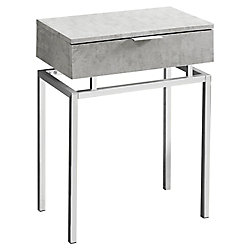 Monarch Specialties Accent Table - 24-inch H Grey CementChrome Metal