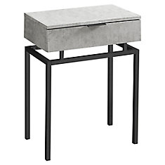 Accent Table - 24-inch H Grey CementBlack Nickel