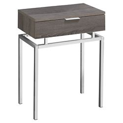 Monarch Specialties Table D'Appoint - 24 po H Taupe Fonce Avec Metal Chrome