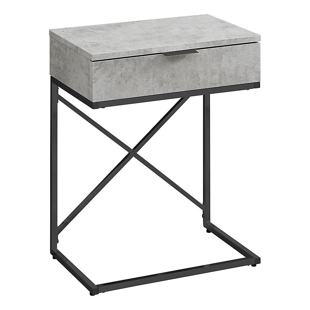 Table D'Appoint -24 po H Gris Cimente Metal Nickel Noir