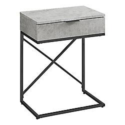Monarch Specialties Accent Table - 24-inch H Grey Cement Black Nickel