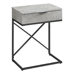 Monarch Specialties Accent Table - 24-inch H Grey Cement Black Nickel