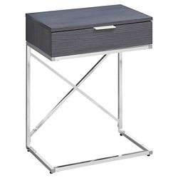 Monarch Specialties Accent Table - 24-inch H Grey Chrome Metal