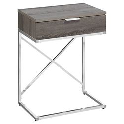 Monarch Specialties Accent Table - 24-inch H Dark Taupe Chrome