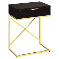 Monarch Specialties Accent Table - 24-inch H Cappuccino Gold