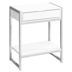 Monarch Specialties Accent Table - 24-inch H Glossy White Chrome Metal