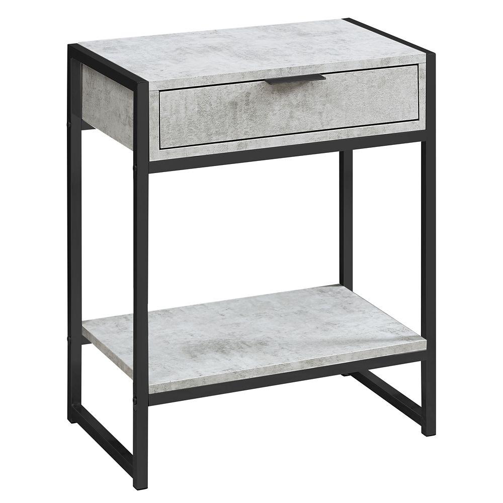 Monarch Specialties Accent Table - 24-inch H Grey Cement Black Nickel Metal