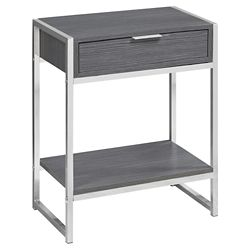 Monarch Specialties Accent Table - 24-inch H Grey Chrome