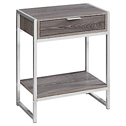 Monarch Specialties Accent Table - 24-inch H Dark Taupe Chrome Metal