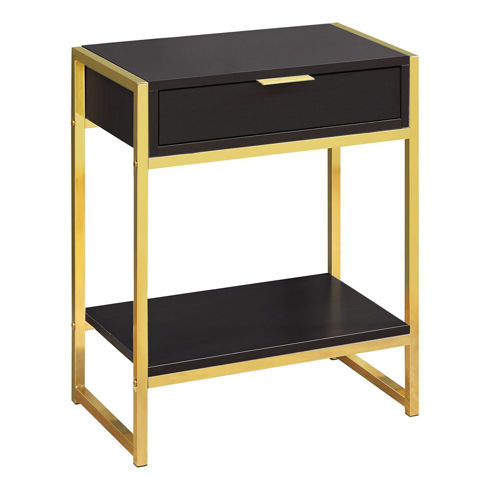 Monarch Specialties Accent Table - 24-inch H Cappuccino W Gold Metal
