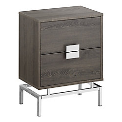 Monarch Specialties Accent Table - 24-inch H Dark Taupe W Chrome Metal