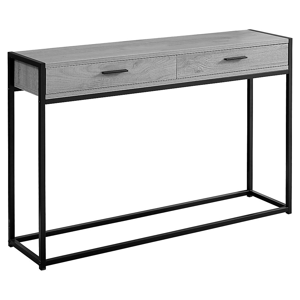 Accent Table - 48-inch L Grey Black Metal Hall Console
