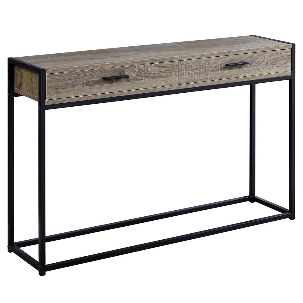 Monarch Specialties Accent Table - 48-inch L Dark Taupe Black Hall Console