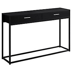 Accent Table - 48-inch L Black Black Metal Hall Console