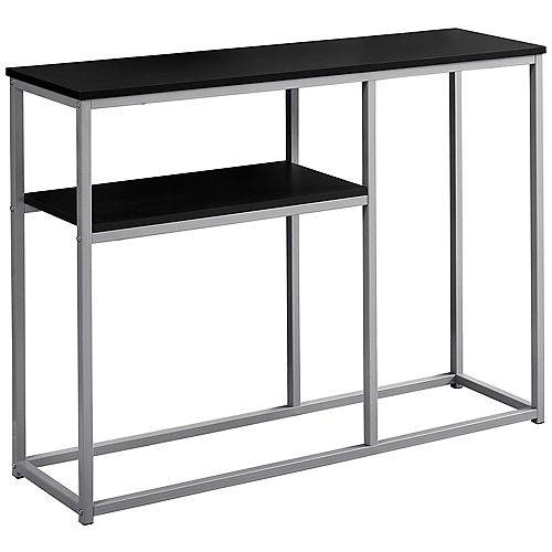 Monarch Specialties Accent Table - 42-inch L Black Silver Metal Hall Console