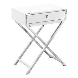 Monarch Specialties Table D'Appoint - 24 po H Blanc Lustre Metal Chrome