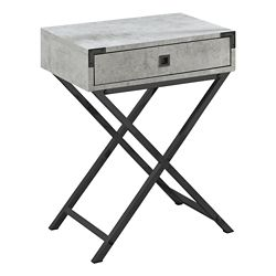 Monarch Specialties Accent Table - 24-inch H Grey Cement Black Nickel Metal