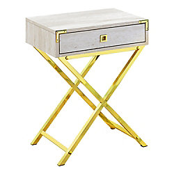 Monarch Specialties Accent Table - 24-inch H Beige Marble Gold Metal