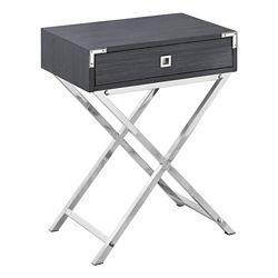 Monarch Specialties Table D'Appoint - 24 po H Gris Metal Chrome