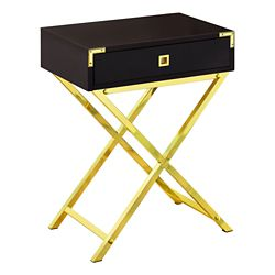 Monarch Specialties Accent Table - 24-inch H Cappuccino Gold Metal
