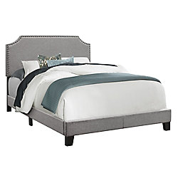 Monarch Specialties Bed - Full Size Grey Linen WChrome Trim