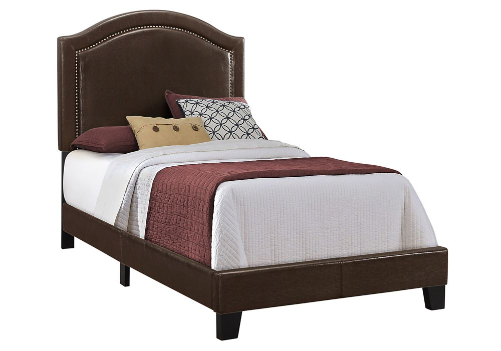 Monarch Specialties Bed - Twin Size Brown Leather-Look With Brass Trim